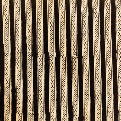 Pure Cotton Dabu Jahota Black And Off White Intricate Stripes Hand Block Print Fabric