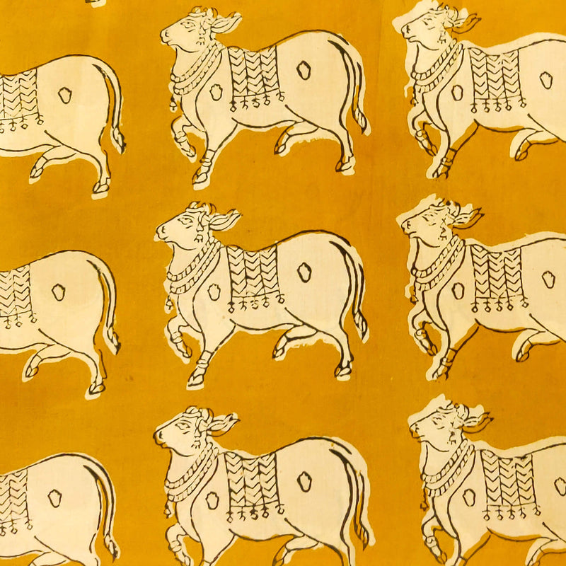 Pure Cotton Dabu Jahota Mustard Moo Print Fabric