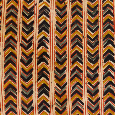 Pure Cotton Dabu Jahota With Black  And Mustard Arrow Head Stripes Hand Block Print Fabric