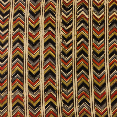 Pure Cotton Dabu Jahota With Black Maroon And Mustard Arrow Head Stripes Hand Block Print Fabric