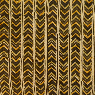 Pure Cotton Dabu Jahota With Shades Of Mustard Arrow Head Stripes Hand Block Print Fabric