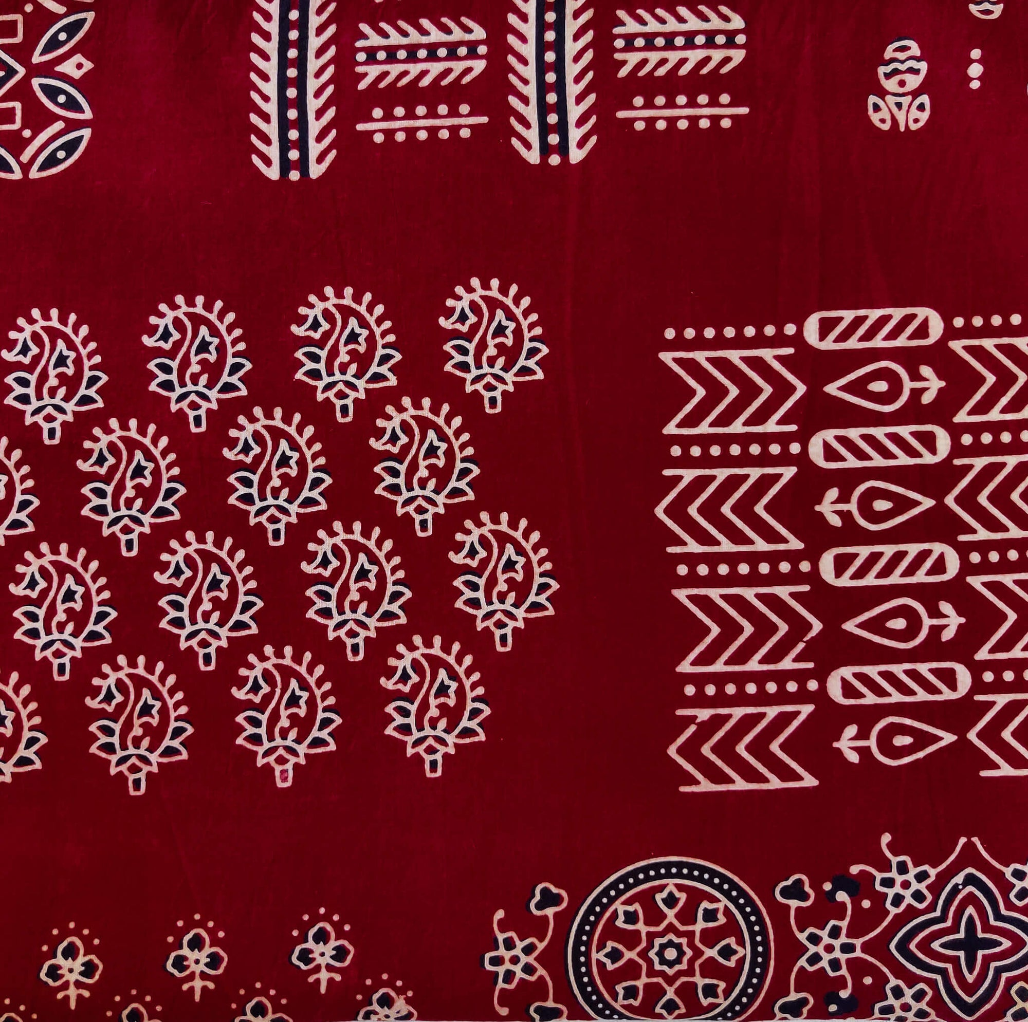 Pure Cotton Dabu Maroon With Assorted Blocks Hand Block Print Fabric