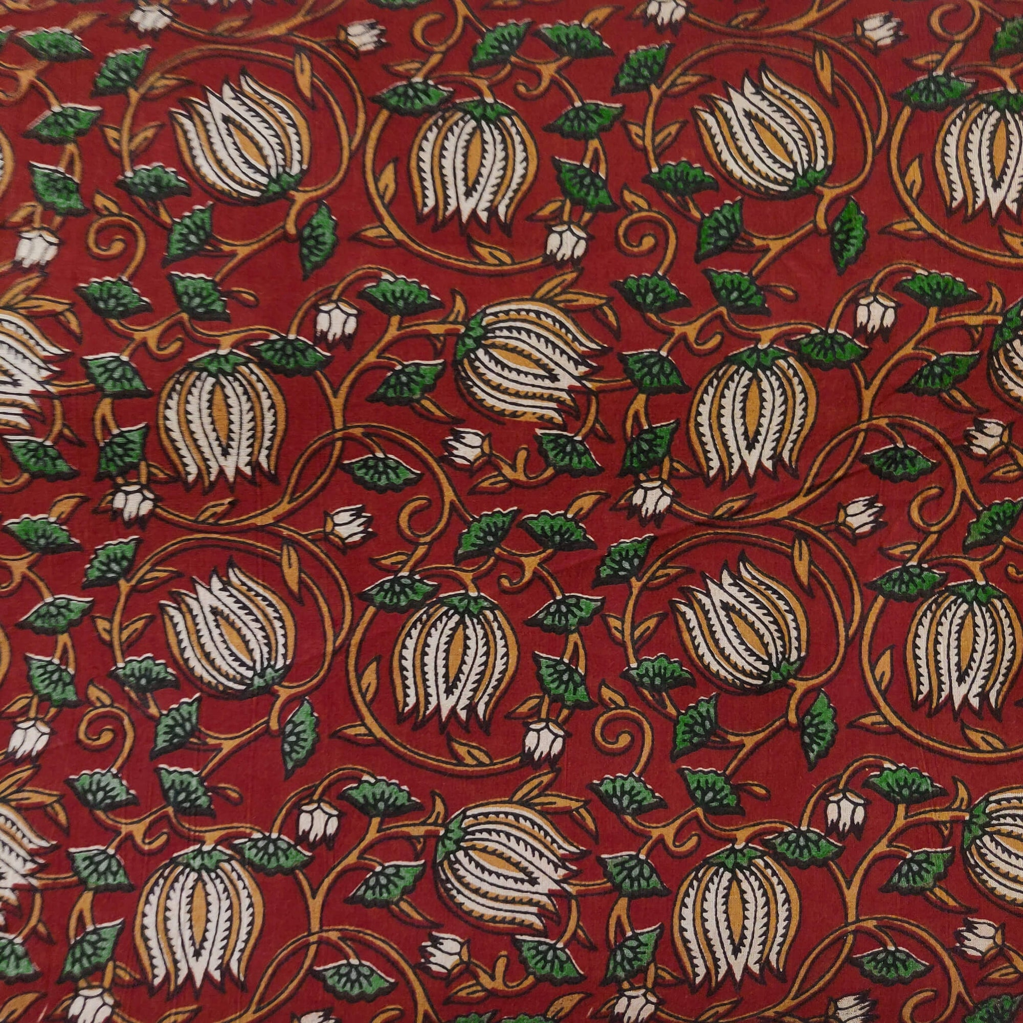 Pure Cotton Dabu Maroon With Cream Lotus Jaal Hand Block Print Fabric