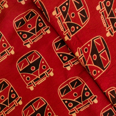 Pure Cotton Dabu Rust With Black Bus Hand Block Print Fabric