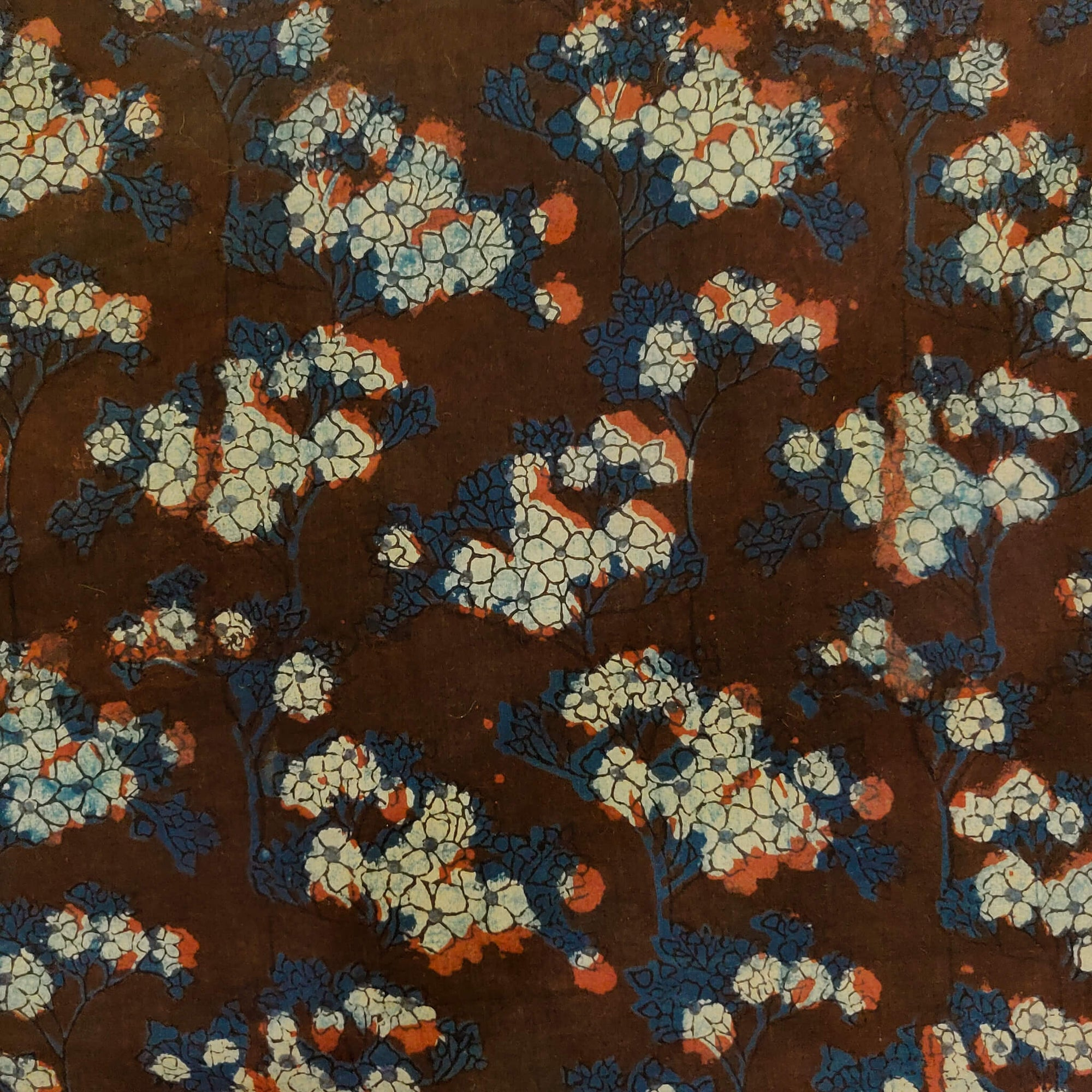 Pure Cotton Double Dabu Reddish Blue With Cream Flower Jaal Hand Block Print Fabric
