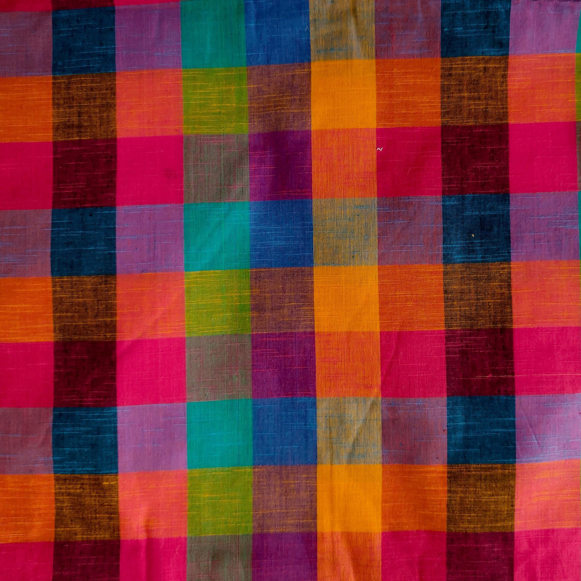 Pure Cotton Fabric Medium Checks Multicolor Hand Loom