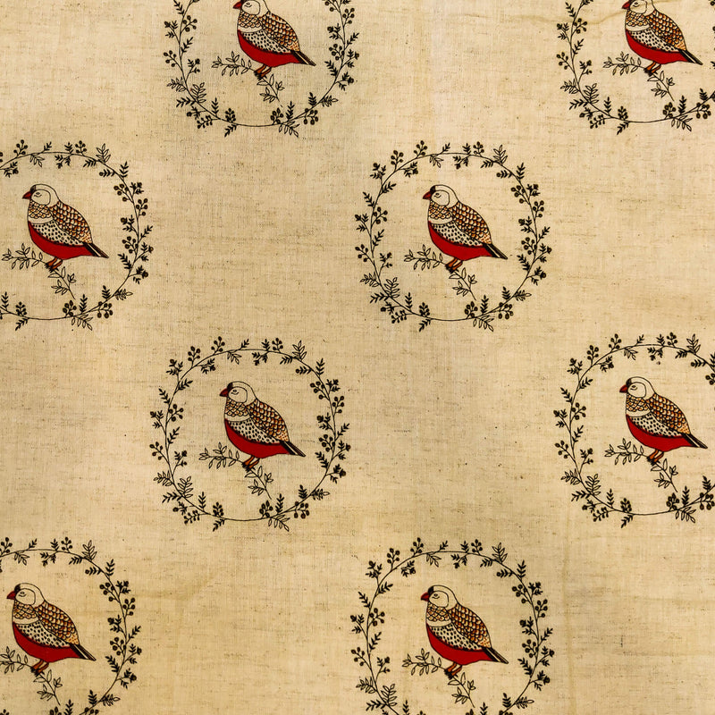 Pure Cotton Flex Cream With Sparrow Screen Print Fabric