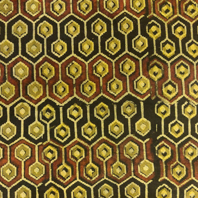 Pure Cotton Greenish Mustard Ajrak With Black And Maroon Honeycomb Hand Block Print Fabric