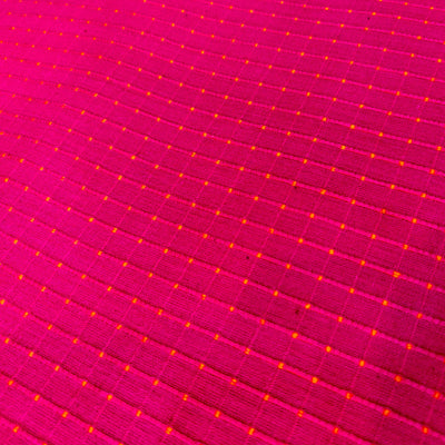 Pure Cotton Hand Woven Fabric Pink With Orange Tiny Woven Dots Fabric