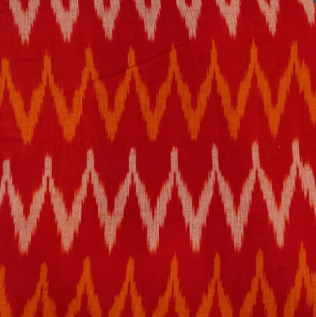 Pure Cotton Hand Woven Ikkat Red With Mustard And Off White Tiny W Weaves  Fabric