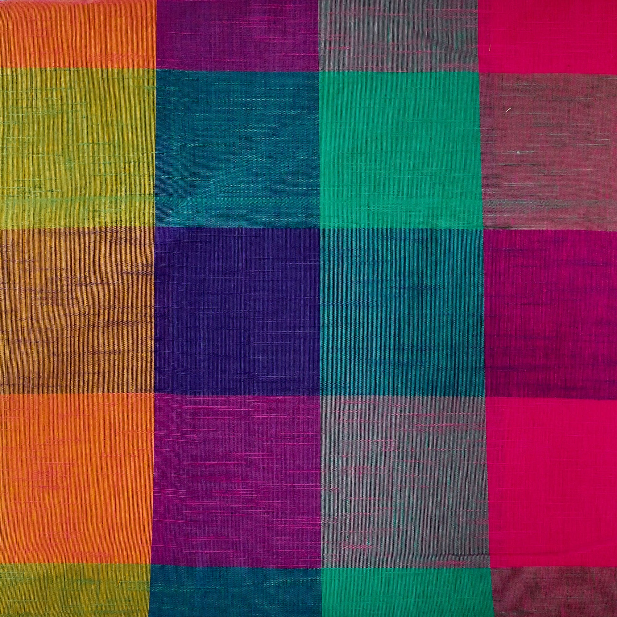 Pure Cotton Handloom Checks With Shades Of Blue And Pink Fabric