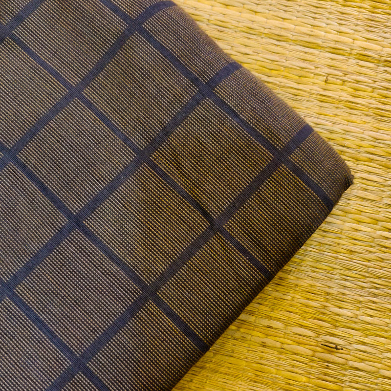 Pure Cotton Handloom Dark Grey With Light Yellow Thread Checks Woven Fabric