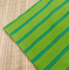 Pure Cotton Handloom Green With Blue Stripes Woven Blouse Fabric (1.25 Meter)