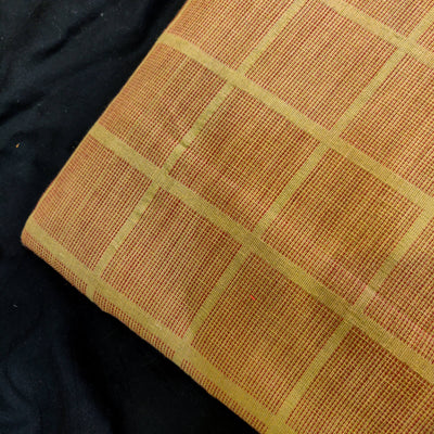 Pure Cotton Handloom Light Brown With Dark Brown Thread Checks Woven Fabric
