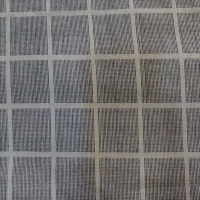 Pure Cotton Handloom Light Grey With Dark Grey Thread Checks Woven Fabric
