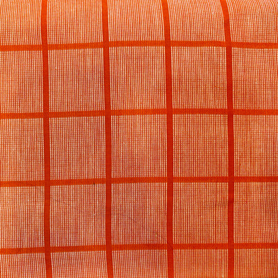 Pure Cotton Handloom Orange With White Thread Checks Woven Fabric