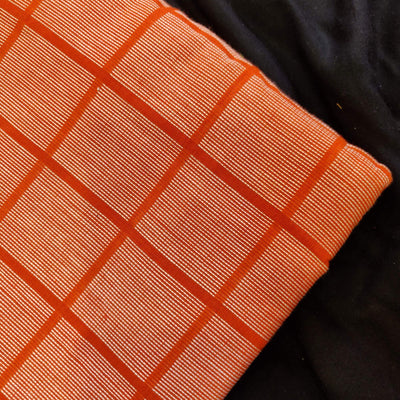 Pure Cotton Handloom Orange With White Thread Checks Woven  Blouse Fabric ( 92 CM )