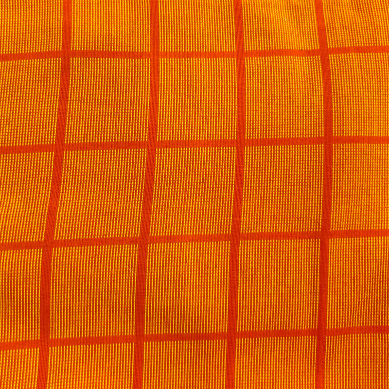 Pure Cotton Handloom Orange With  Yellow Thread Checks Woven Fabric