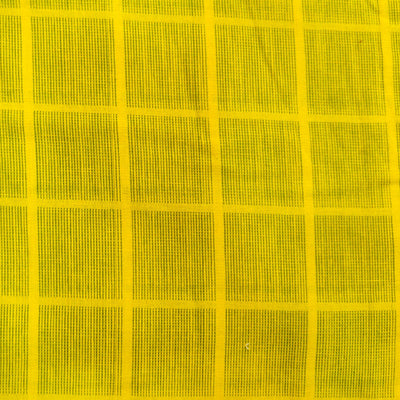Pure Cotton Handloom Yellow With Green Thread Checks Woven Fabric
