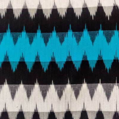 Pure Cotton Ikkat With Black White And Blue Multi Weaves Hand Woven Fabric
