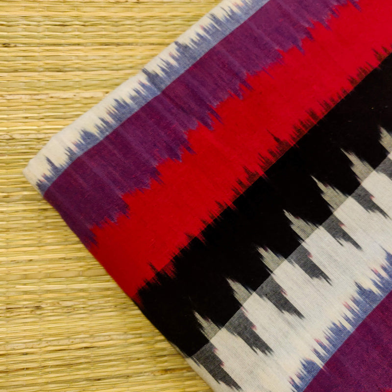 Pure Cotton Ikkat With Black White Purple And Red Multi Weaves Hand Woven Fabric
