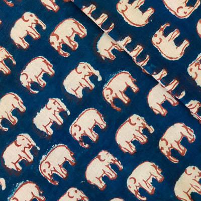 Pure Cotton Indigo With Tiny Maroon Outlined Elephant Hand Block Print Fabric