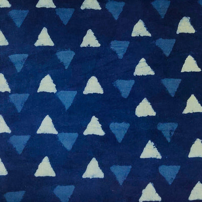 Pure Cotton Indigo With Tiny Triangle Hand Block Print Fabric