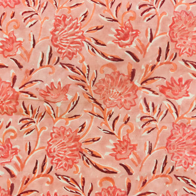 Pure Cotton Jaipuri Baby Peach With Peach Flower Jaal Hand Block Print Fabric
