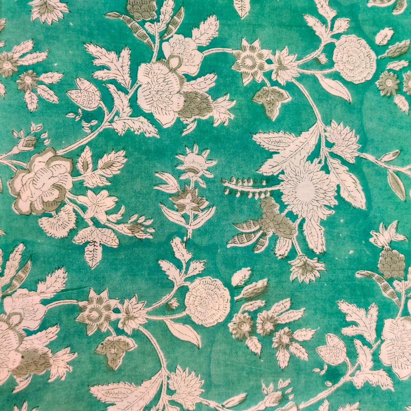 Pure Cotton Jaipuri  Blue With Off White Flower Jaal Hand Block Print Fabric