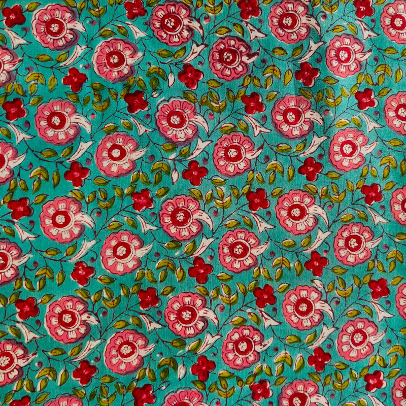 Pure Cotton Jaipuri Light Blue With Pink And Red Flower Jaal Hand Block Print Fabric