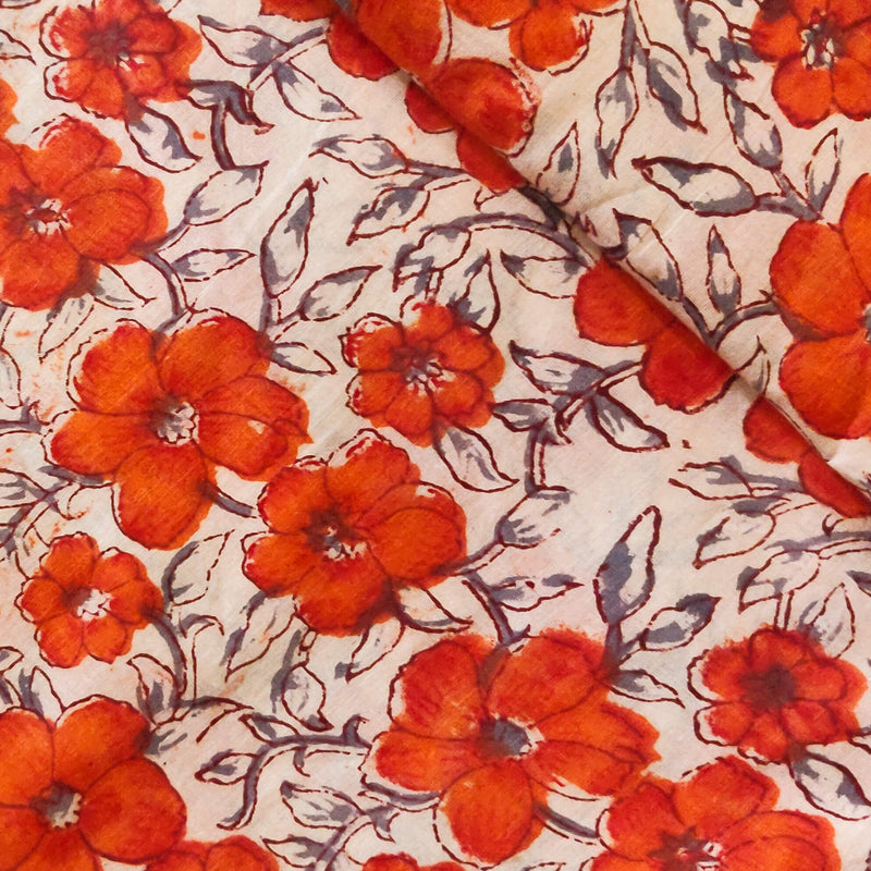 Pure Cotton Jaipuri White With Orange Flower Jaal Handblock Print Fabric