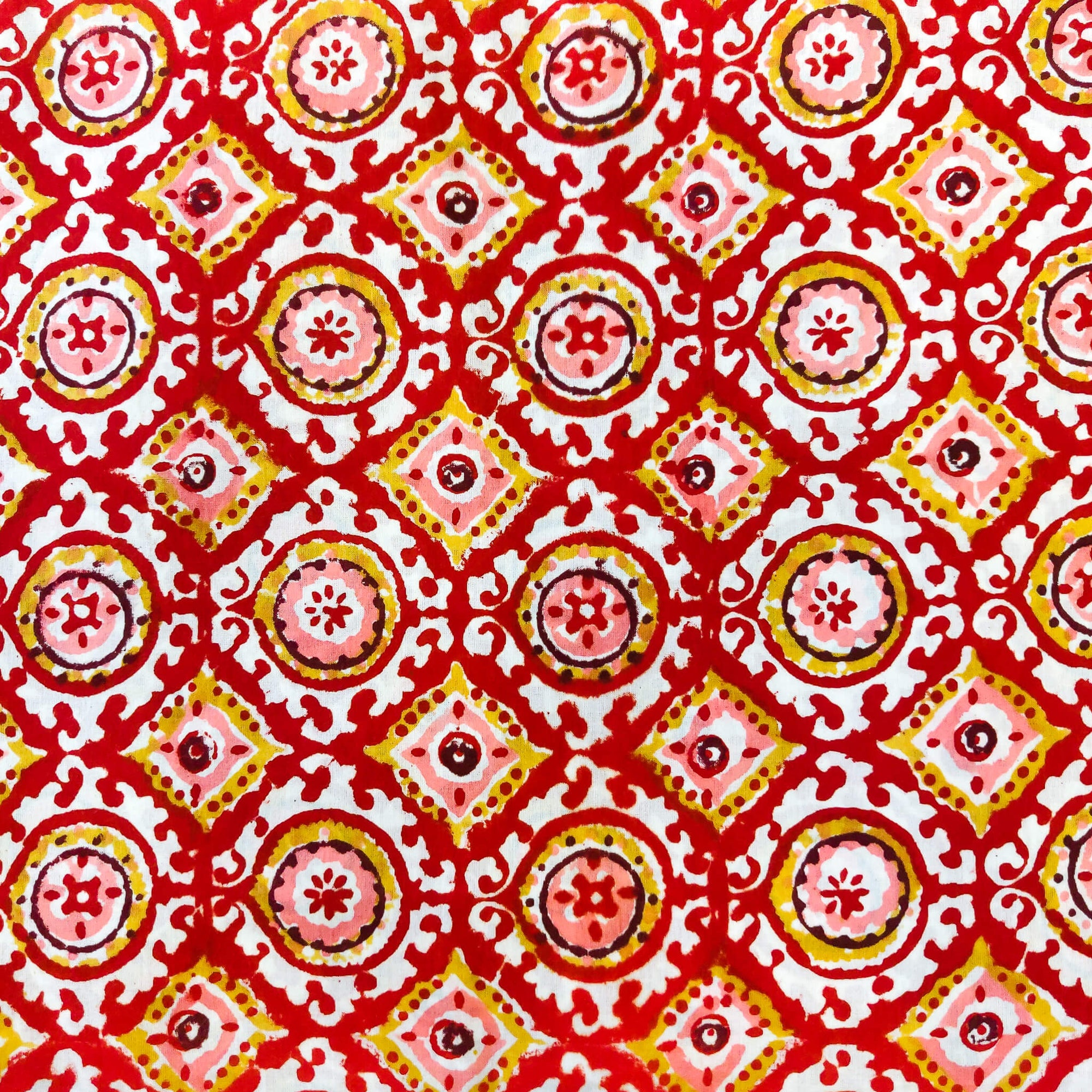 Pure Cotton Jaipuri White With Red Pink And Mustard Tile Hand Block Print Fabric