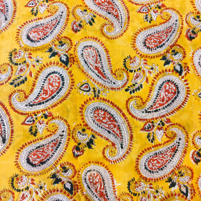 Pure Cotton Jaipuri Yellow With Intricate Kairi Jaal Hand Block Print Fabrica