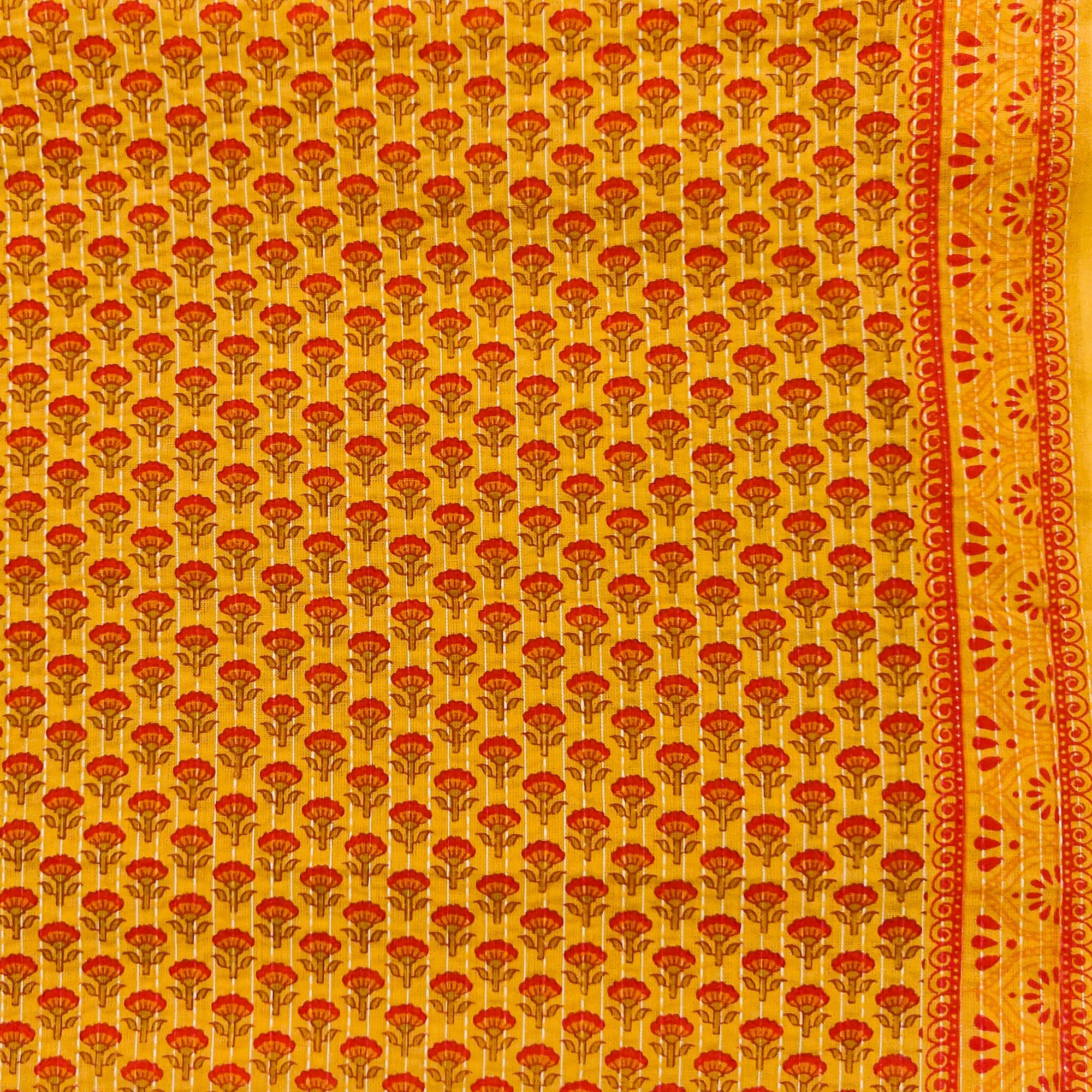 Pure Cotton Kaatha Orangish Mustard Yellow With Red Tiny Motifs Flower Hand Block Print Fabric