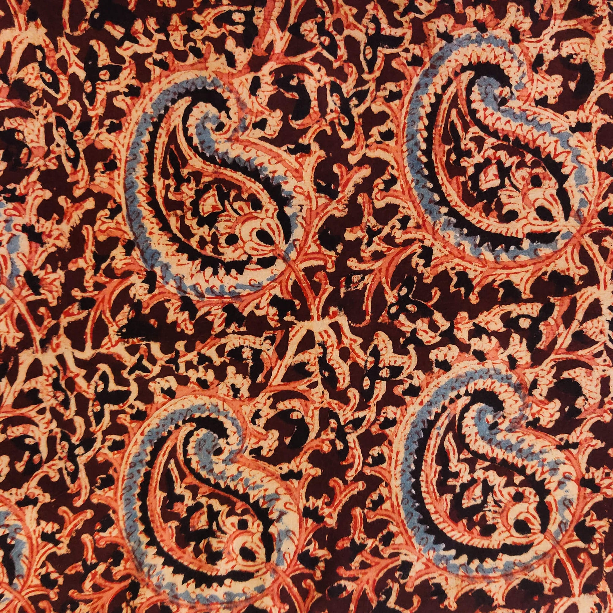 Pure Cotton Kalamkari Brown WIth Big Kairi Jaal Hand Block Print Fabric