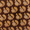 Pure Cotton Kalamkari Brown With Peacock Hand Block Print Fabric