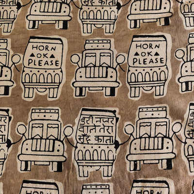 Pure Cotton Kashish With Indian Trucks Hand Block Print Fabric