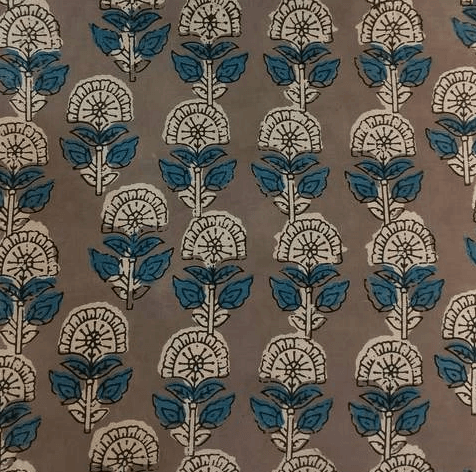 Pure Cotton Kashish With Light Blue And Off White Flower Motif Hand Block Print Fabric