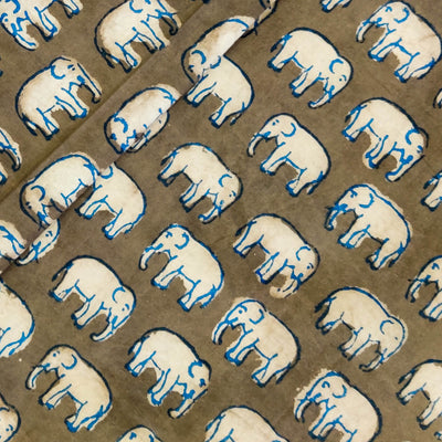 Pure Cotton Kashish With Tiny Blue Outlined Elephant Hand Block Print Fabric