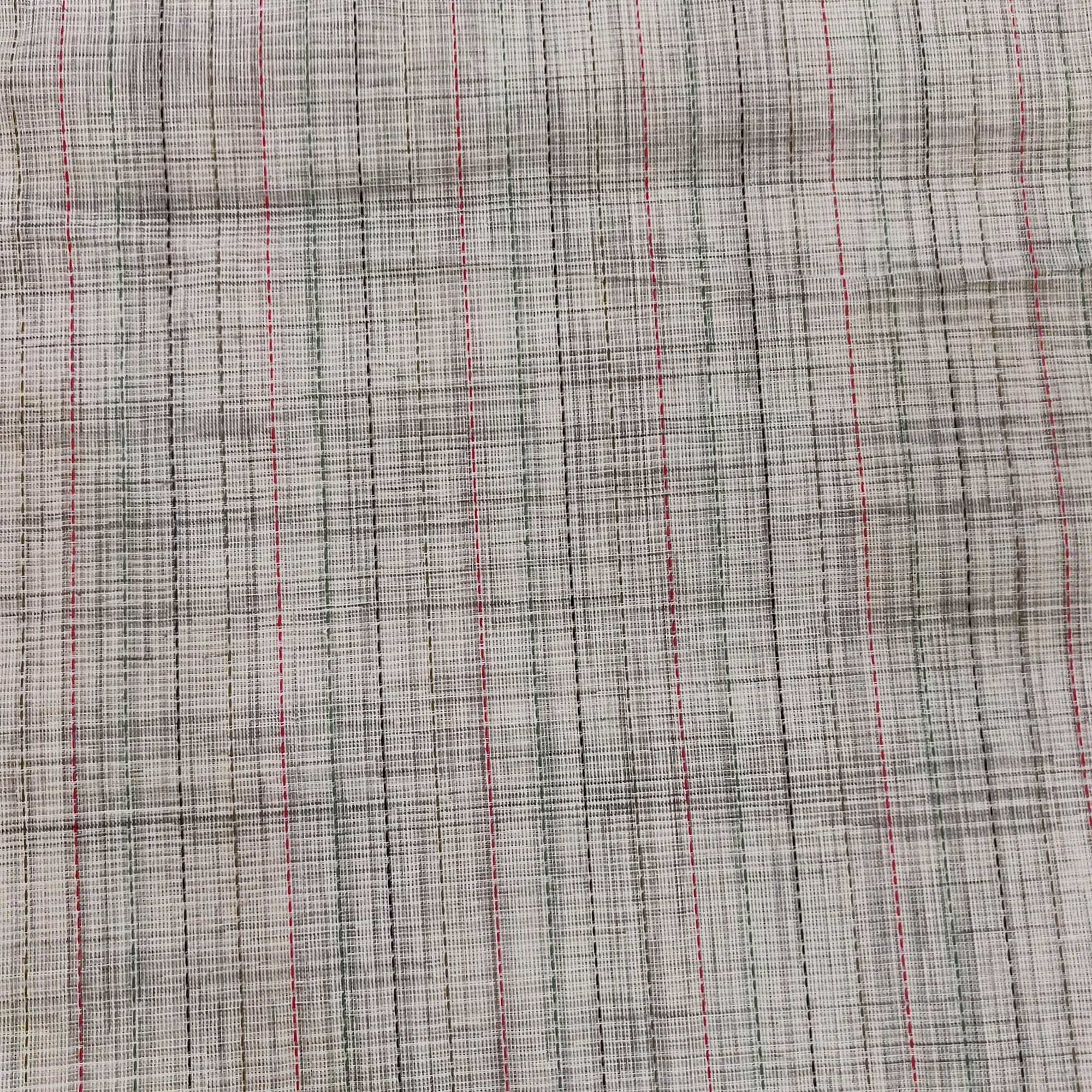Pure Cotton Light Grey Fabric With Multi Thread Kaatha