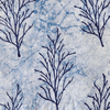 Pure Cotton Light Indigo With Dark Blue Dried Up Trees Hand Block Print Blouse Fabric (1.25 Metre )