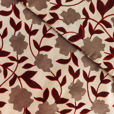 Pure Cotton Light Kashish With Light Grey And Maroon Jaal Hand Block Print Fabric