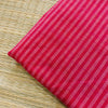 Pure Cotton Light Reddish Pink With Cream Stripes Handloom Fabric