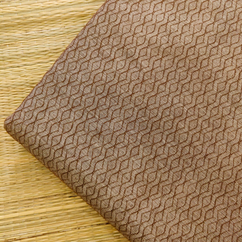 Pure Cotton Mangalgiri Beige Brown With Self Design Woven Fabric