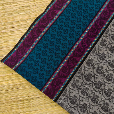 Pure Cotton Mangalgiri Grey With Self Woven Design And Blue And Purple Border