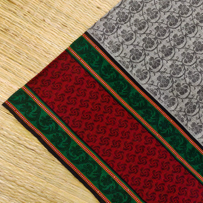 Pure Cotton Mangalgiri Grey With Self Woven Design And Red And Green Bordera