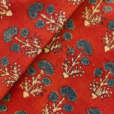 Pure Cotton Maroon Ajrak With Three Blue Flower Plant Hand Block Print Fabric