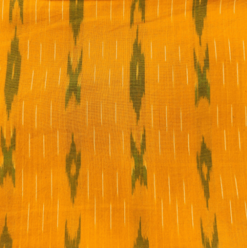 Pure Cotton Mustard Mango Ikkat With Mehendi Green XO Weaves Handwoven Blouse Fabric (1 Meter)