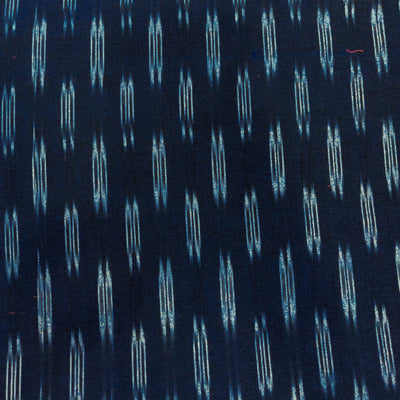 Pure Cotton Navy Blue Ikkat With Light Grey Double Elongated Oval Weaves Handwoven Fabric