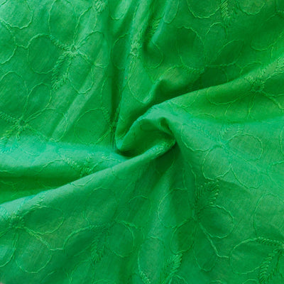 Pure Cotton Pastel Green With Self Thread Embroidery Fabric